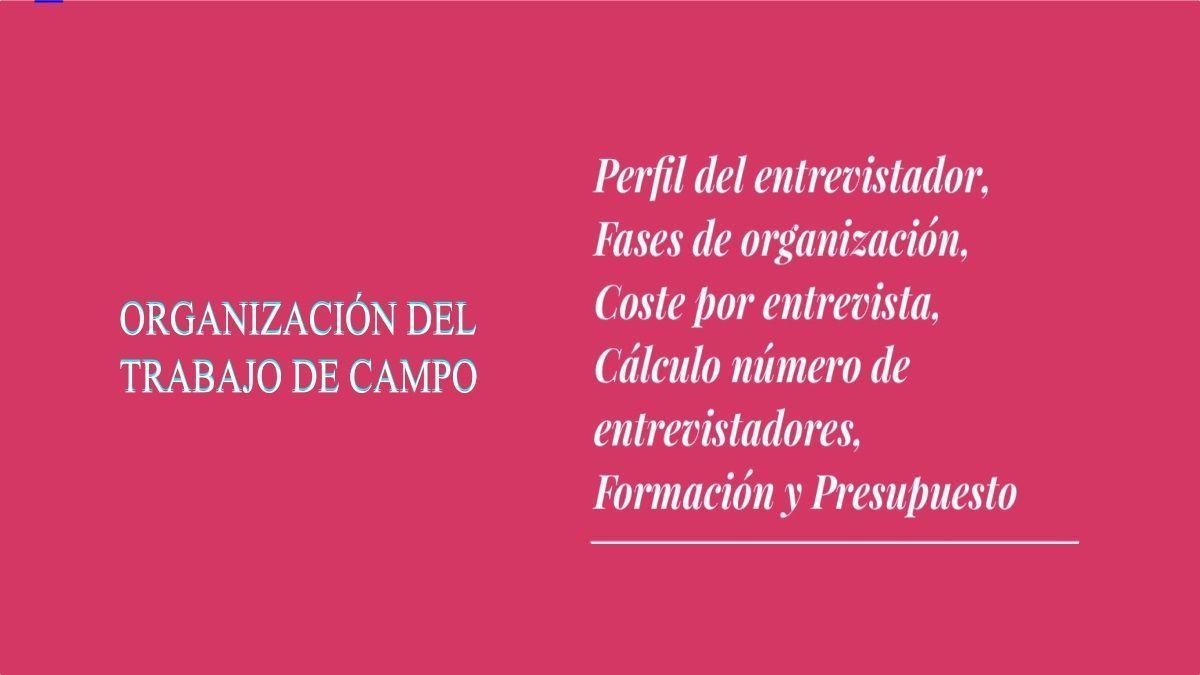 ORGANIZACIÓN DEL TRABAJO DE CAMPO